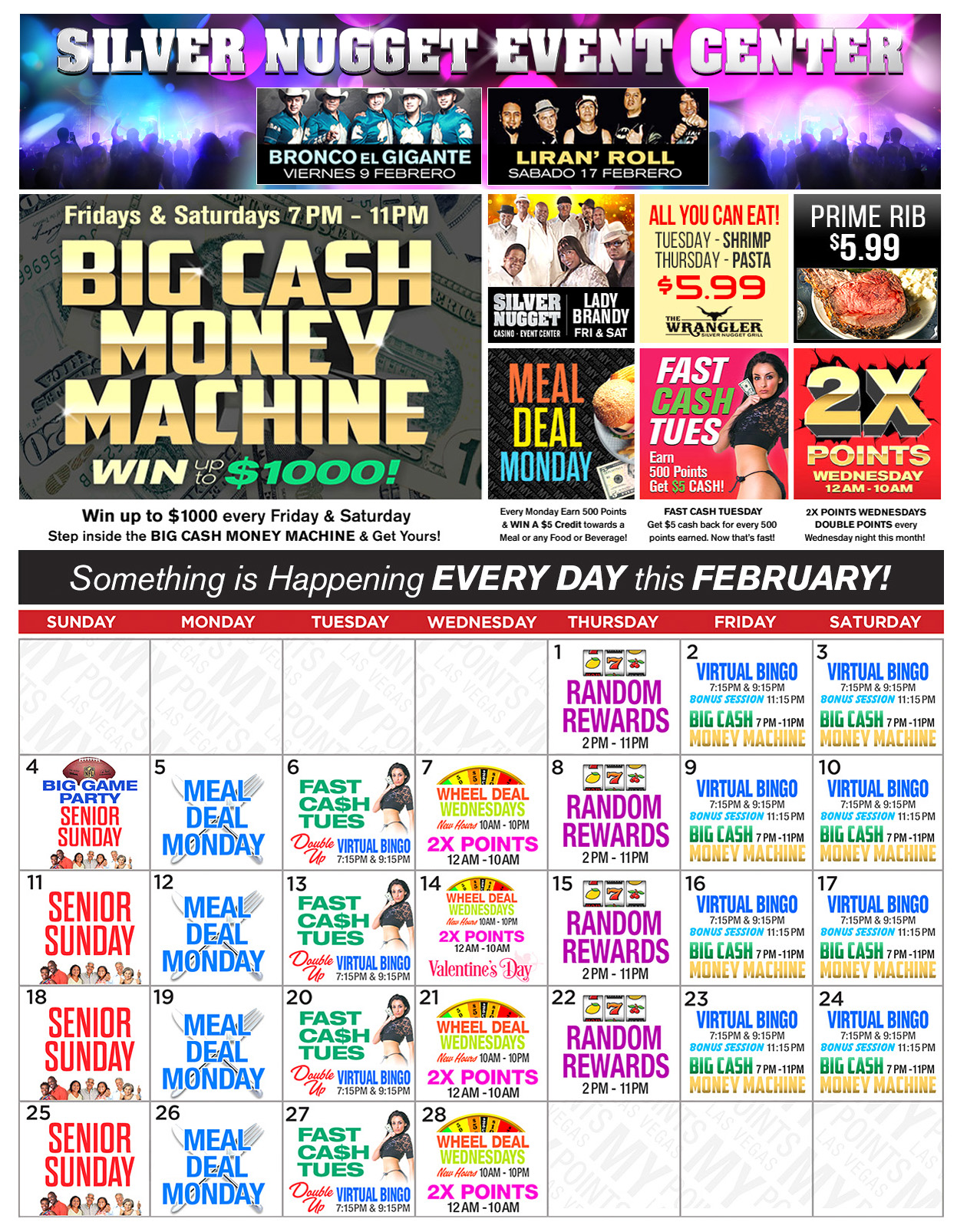 Silver Nugget Upcoming Promotions - February 2018