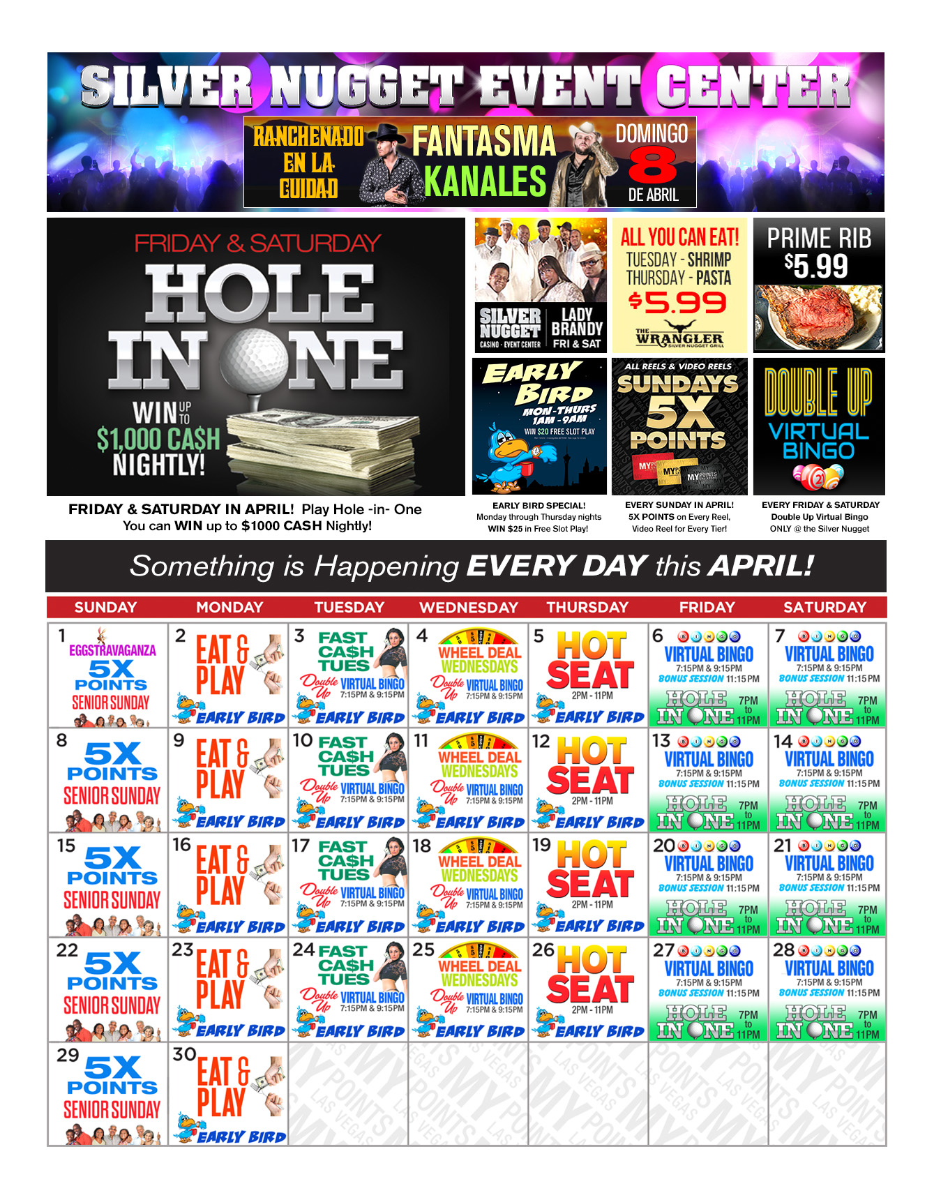 Silver Nugget Upcoming Promotions - April 2018