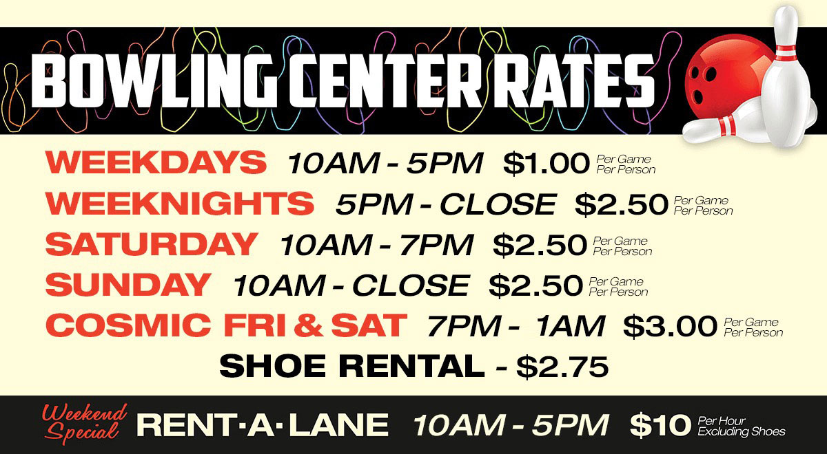 Bowling Center Rates